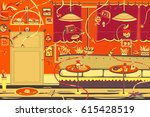 restaurant with robots | Shutterstock .eps vector #615428519