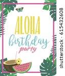 summer aloha party beach poster.... | Shutterstock .eps vector #615432608
