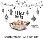 ramadan kareem iftar party... | Shutterstock .eps vector #615434189