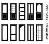 set of black door icons  vector ... | Shutterstock .eps vector #615434330