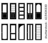 set of black door icons  vector ... | Shutterstock .eps vector #615434330