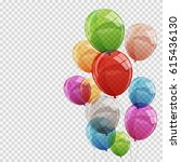 group of colour glossy helium... | Shutterstock .eps vector #615436130