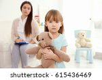 little girl with teddy bear and ... | Shutterstock . vector #615436469