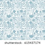 vector floral pattern in doodle ... | Shutterstock .eps vector #615437174