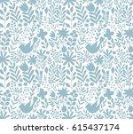 vector floral pattern in doodle ... | Shutterstock .eps vector #615437174