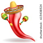a mexican red chilli pepper... | Shutterstock .eps vector #615438524