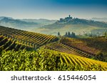 langhe vineyards and hills in... | Shutterstock . vector #615446054