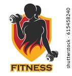 emblem with athletic woman... | Shutterstock .eps vector #615458240