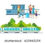 families with luggage await the ... | Shutterstock .eps vector #615463154
