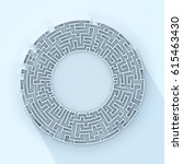 round white labyrinth shape... | Shutterstock . vector #615463430