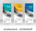 roll up banner stand template... | Shutterstock .eps vector #615464639