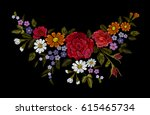 embroidery colorful floral... | Shutterstock .eps vector #615465734