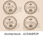 city postmarks. old faded retro ... | Shutterstock .eps vector #615468929