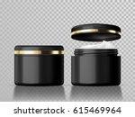 closed and open black cream jar ... | Shutterstock .eps vector #615469964