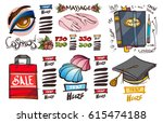 set of social icons in hand... | Shutterstock .eps vector #615474188
