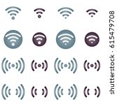 wireless network icons on white ... | Shutterstock .eps vector #615479708