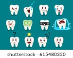set of cute tooth emoticons... | Shutterstock .eps vector #615480320