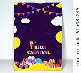 kids carnival or amusement park ... | Shutterstock .eps vector #615485249