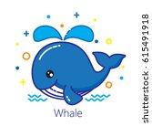 cute cartoon whale.   Shutterstock .eps vector #615491918