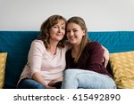 smiling mother and daughter... | Shutterstock . vector #615492890