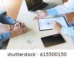 doctor talking with man patient ... | Shutterstock . vector #615500150