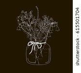 chalk hand drawn floral bouquet ...   Shutterstock .eps vector #615501704
