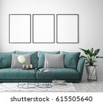 mock up poster frame in hipster ... | Shutterstock . vector #615505640