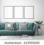 mock up poster frame in hipster ... | Shutterstock . vector #615505640