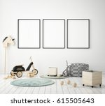 mock up poster frame in... | Shutterstock . vector #615505643