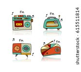 vintage radio set  sketch for... | Shutterstock .eps vector #615511814