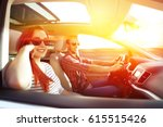 woman and men in car and summer ... | Shutterstock . vector #615515426