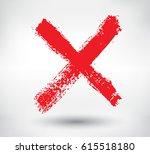 grunge letter x vector cross... | Shutterstock .eps vector #615518180
