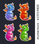 cute cartoon little dragon ... | Shutterstock .eps vector #615519800