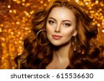 golden beautiful fashion woman  ... | Shutterstock . vector #615536630