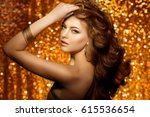 golden beautiful fashion woman  ... | Shutterstock . vector #615536654