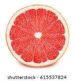 half of red grapefruit isolated ... | Shutterstock . vector #615537824