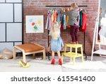 cute little children choosing... | Shutterstock . vector #615541400