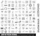 100 hi tech icons set. outline... | Shutterstock .eps vector #615541463