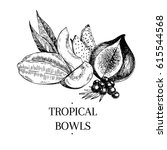 vector hand drawn exotic fruits.... | Shutterstock .eps vector #615544568