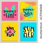 four bright summer cards with... | Shutterstock .eps vector #615546068