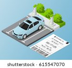 isometric electric car parking. ... | Shutterstock .eps vector #615547070