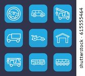auto icon. set of 9 outline... | Shutterstock .eps vector #615555464