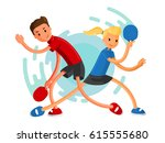 table tennis players. boy and... | Shutterstock .eps vector #615555680