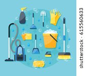 house cleaning service colorful ... | Shutterstock .eps vector #615560633