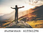 happy man raised hands at... | Shutterstock . vector #615561296