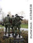 Vietnam Wall Three Men Soldier...