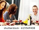 dinner with friends. | Shutterstock . vector #615569408