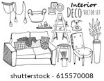 creative graphic furniture... | Shutterstock .eps vector #615570008