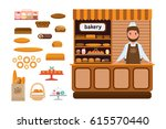 set of bakery products and... | Shutterstock .eps vector #615570440