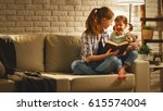 family before going to bed... | Shutterstock . vector #615574004
